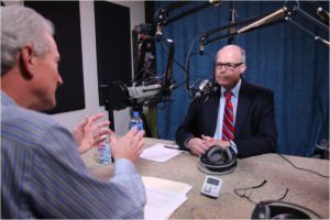 Image: Grant Reeher interviewing Richard Bowen in studio.