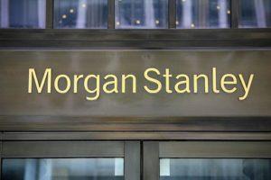 Photo fo Morgan Stanley's name on the headquarters door