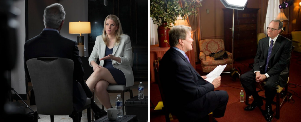 Side-by-side image with Frances Haugen's 60 MInutes interview on the left and Richard M. Bowen's 60 Minutes interview on the right.