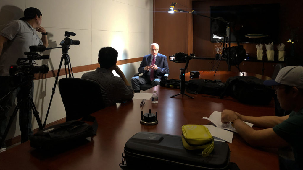 Image: Documentary crew interviewing Richard M. Bowen