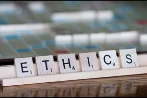 Scrabble tiles spelling out Ethics