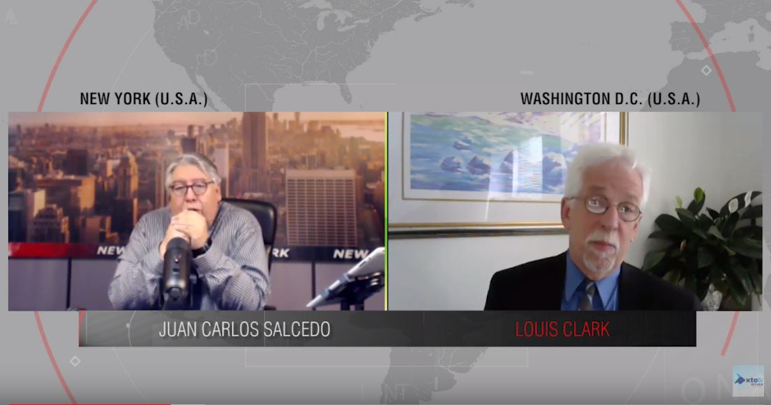 Screenshot of split screen from interview with Juan Carlos Salcedo on the left and Louis Clark on the right.