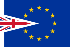 Image: Combination EU and British flag representing Brexit