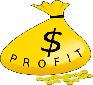 Graphic of some coins around a money bag labelled with a dollar sign and the word PROFIT.