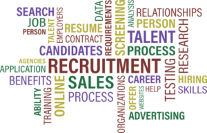 Word cloud with hiring words.