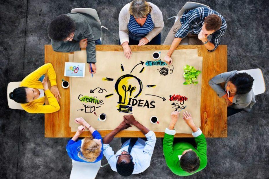 team brainstorming creative ideas for branding service