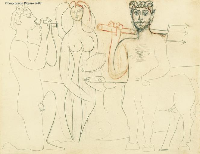 Antibes : Faune Agenouille jouant de la diaule, Nymphe debout au Tambourin by Pablo Picasso (1946)