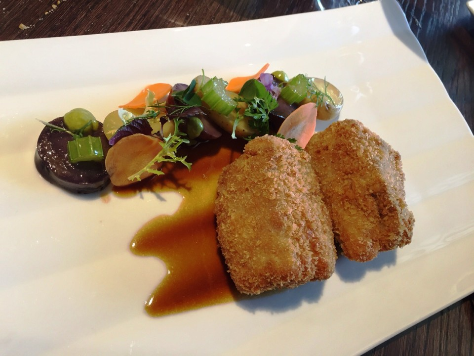 Mlynec Prague - Veal Fillet Mignon a la Schnitzel with Violet Potatoes, Grenaille, Celery, Chive Mayonnaise and Pickled Carrots