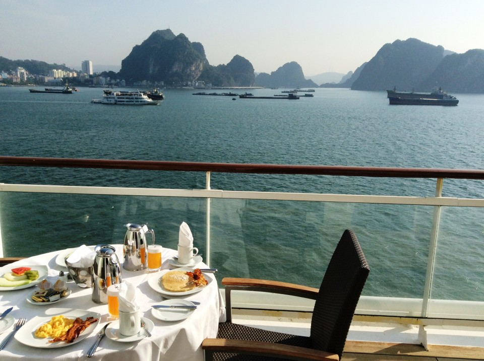 Breakfast aboard ship in Halong Bay Vietnam during our South East Asia Cruise !