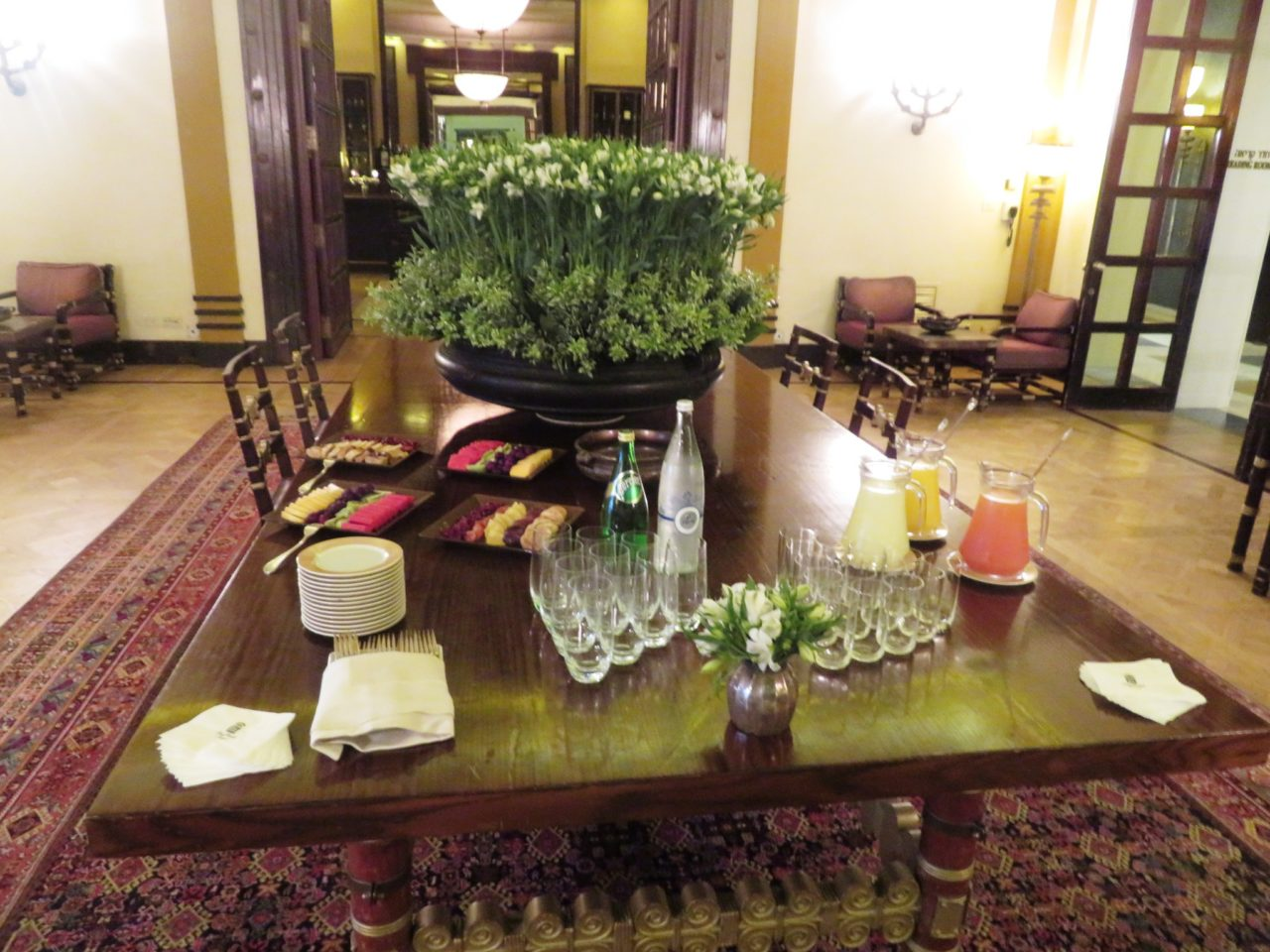 King David Hotel, Jerusalem Israel - Light refreshments in the Reading Room ... on the table used for signing the historic peace treaty between Israel and Jordan !