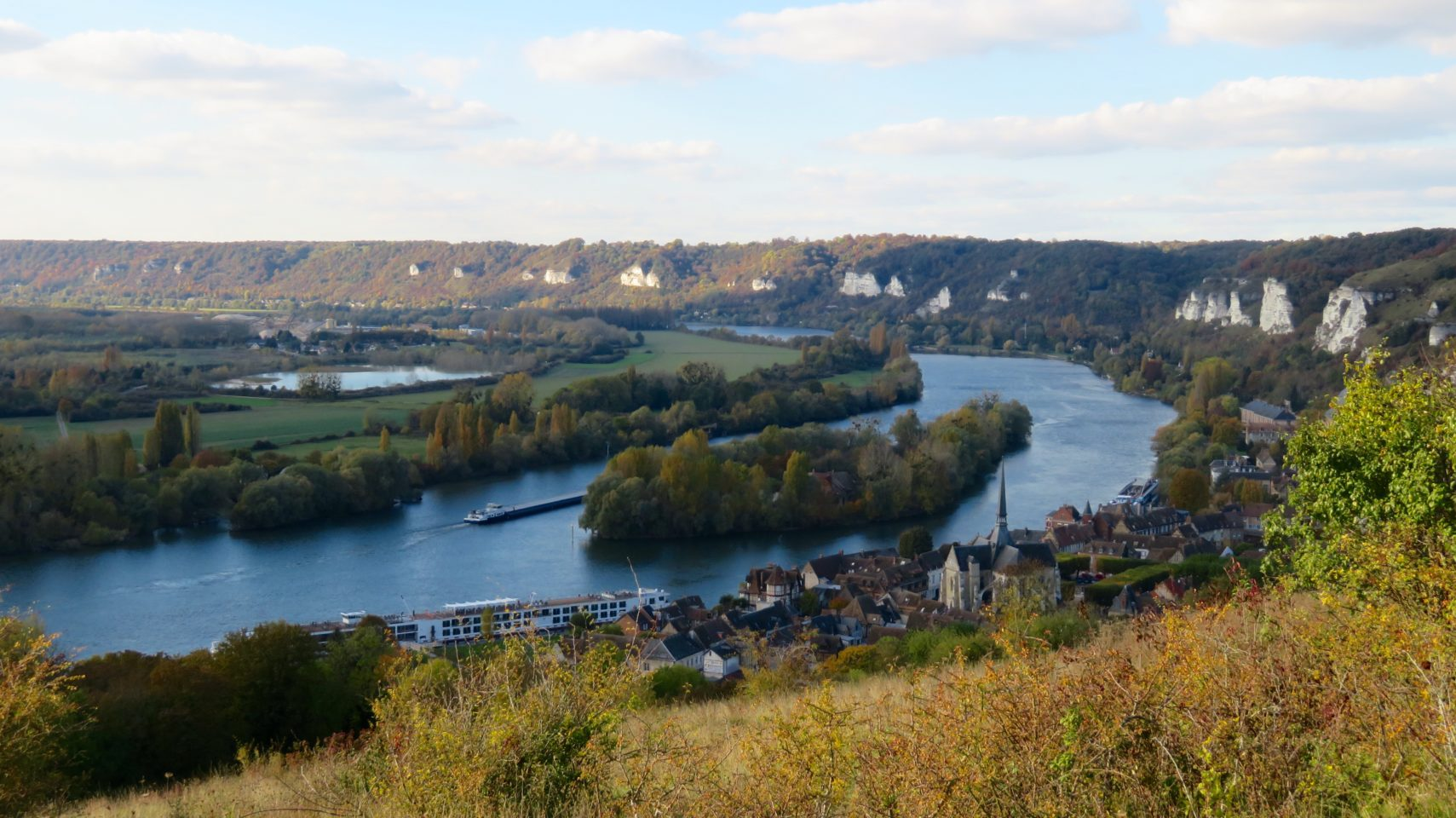 Meandering Seine River at Les Andelys in Normandie, France (Paris and Normandie AMAWaterways Cruise)