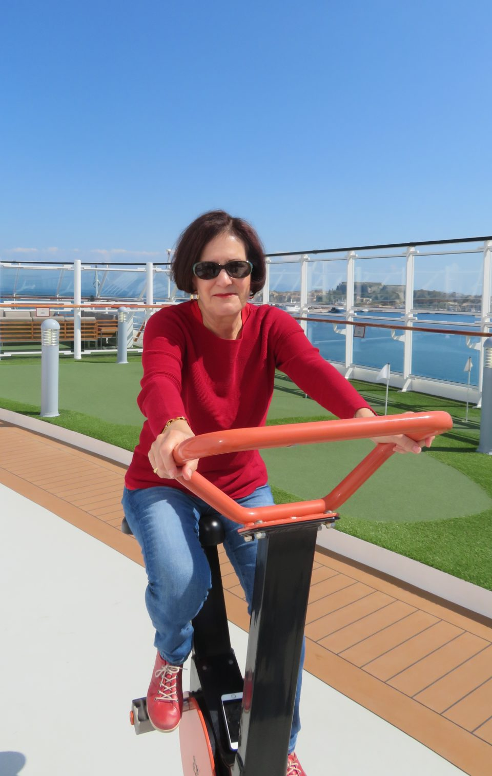 <em><strong>Viking Ocean Cruise Ships ~</strong> </em> Lynn on a recumbent bike on the Viking Star