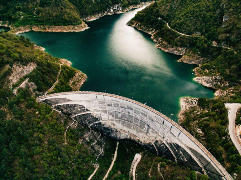 Valvestino Dam on Lake Garda in Italy. Hydroelectric power plant.