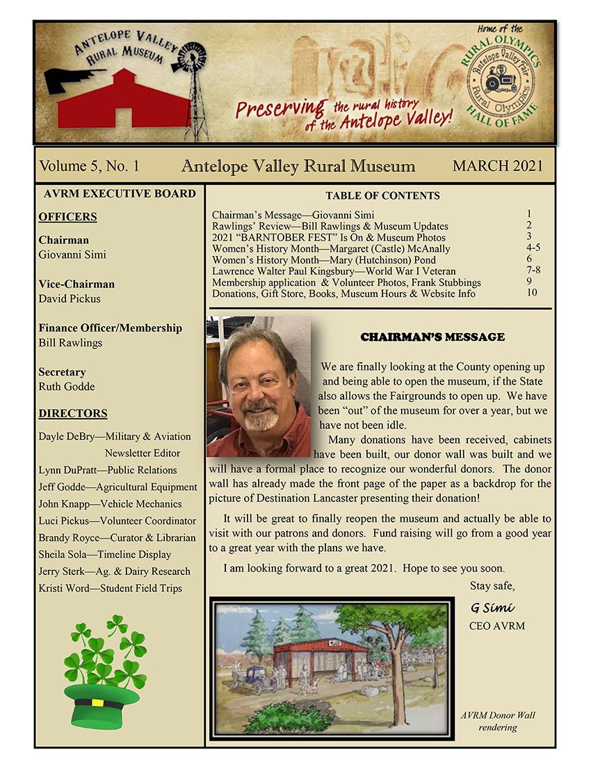 Newsletter Mar Vol.5, No.1