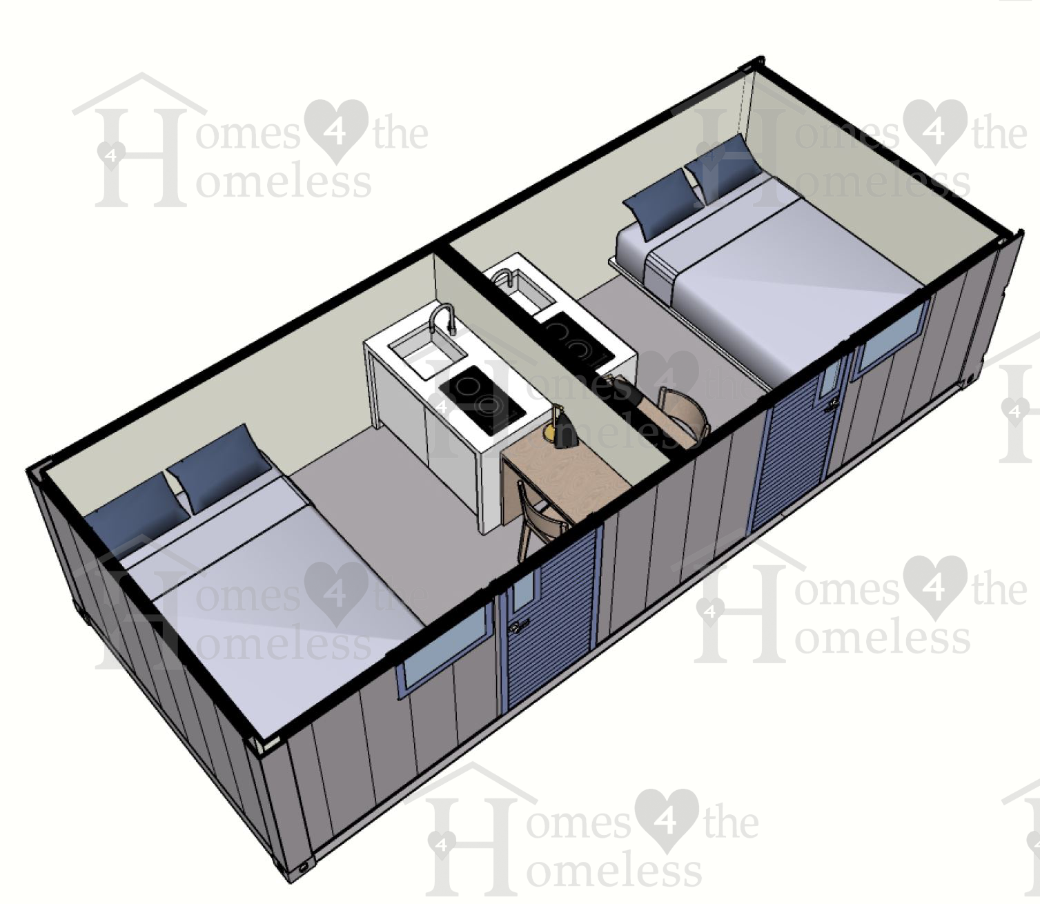 Type 3 shipping container tiny home 4 homeless
