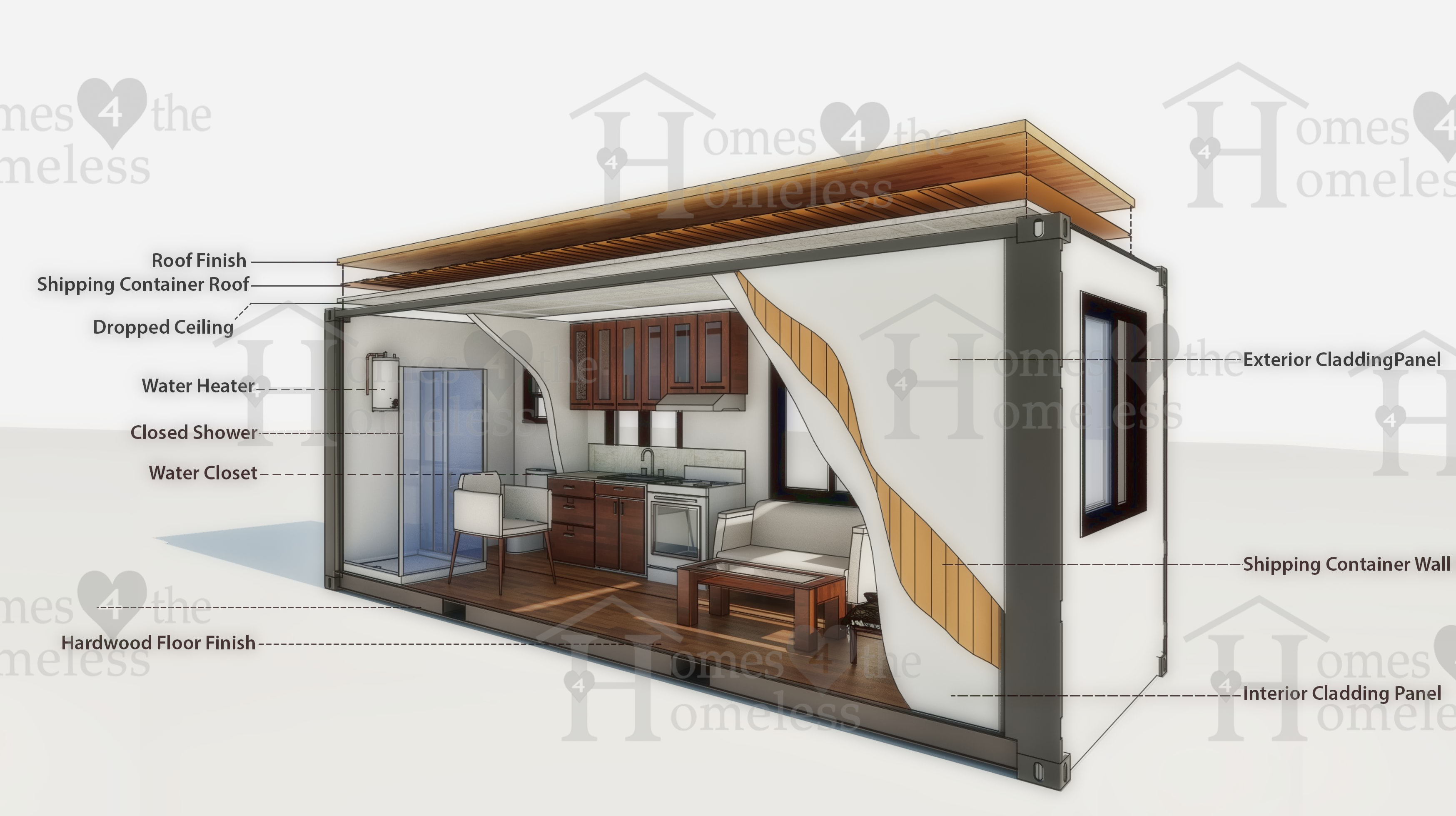 exploded view and cutaway of modular home sing