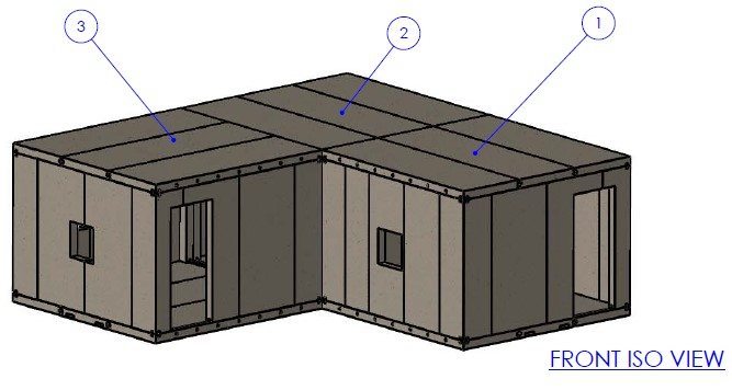L shaped building with MATS/Homes 4 the Homeless composite materials