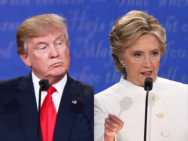 Donald Trump and Hillary Clinton at the Third Presidential Debate in Las Vegas.