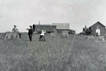 An old image of people at the fields