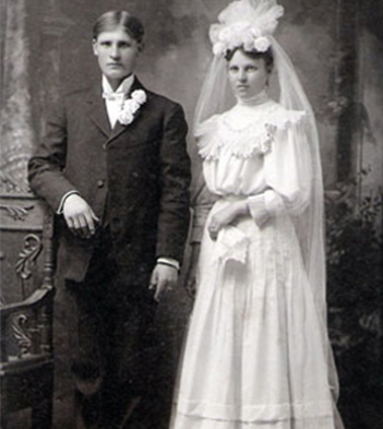 An old image of a wedded couple