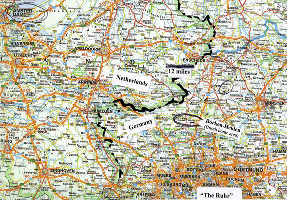 A map of Netherlands and Germany border
