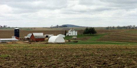 A harvested farm field