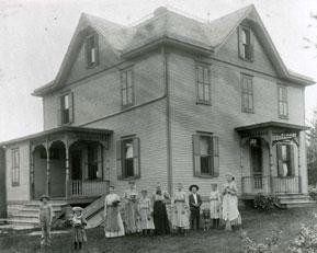 People outside a house