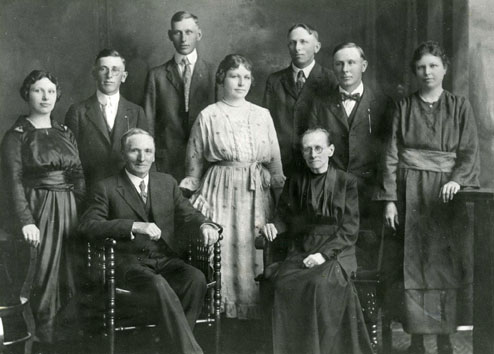 An old image of adults in the family