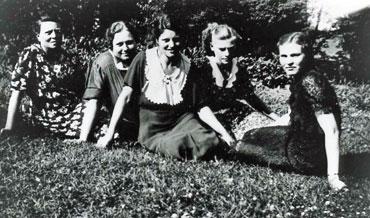 Women sitting on the grass