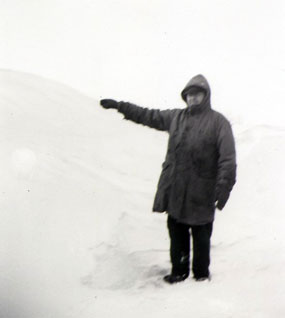 A man walking in the snow