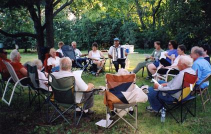Elders talking in a circle