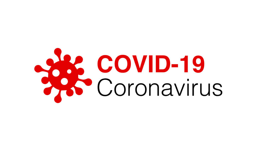 Coronavirus logo on white background