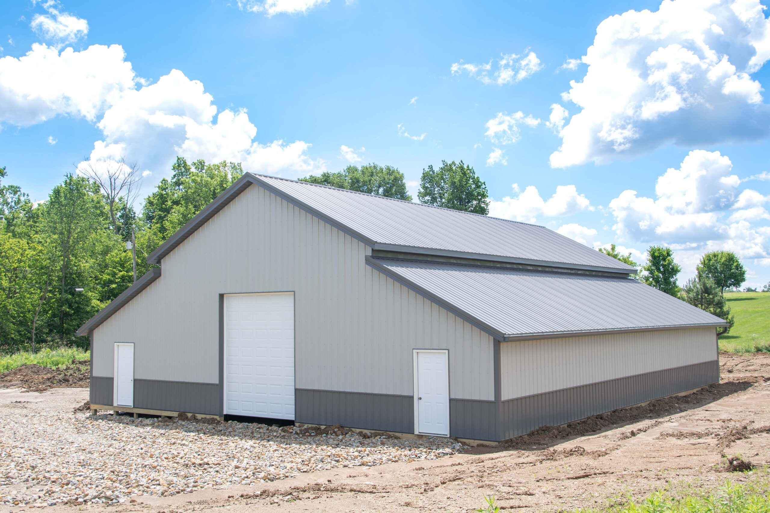 Gray and Charcoal Pole Barn for Livestock and Storage