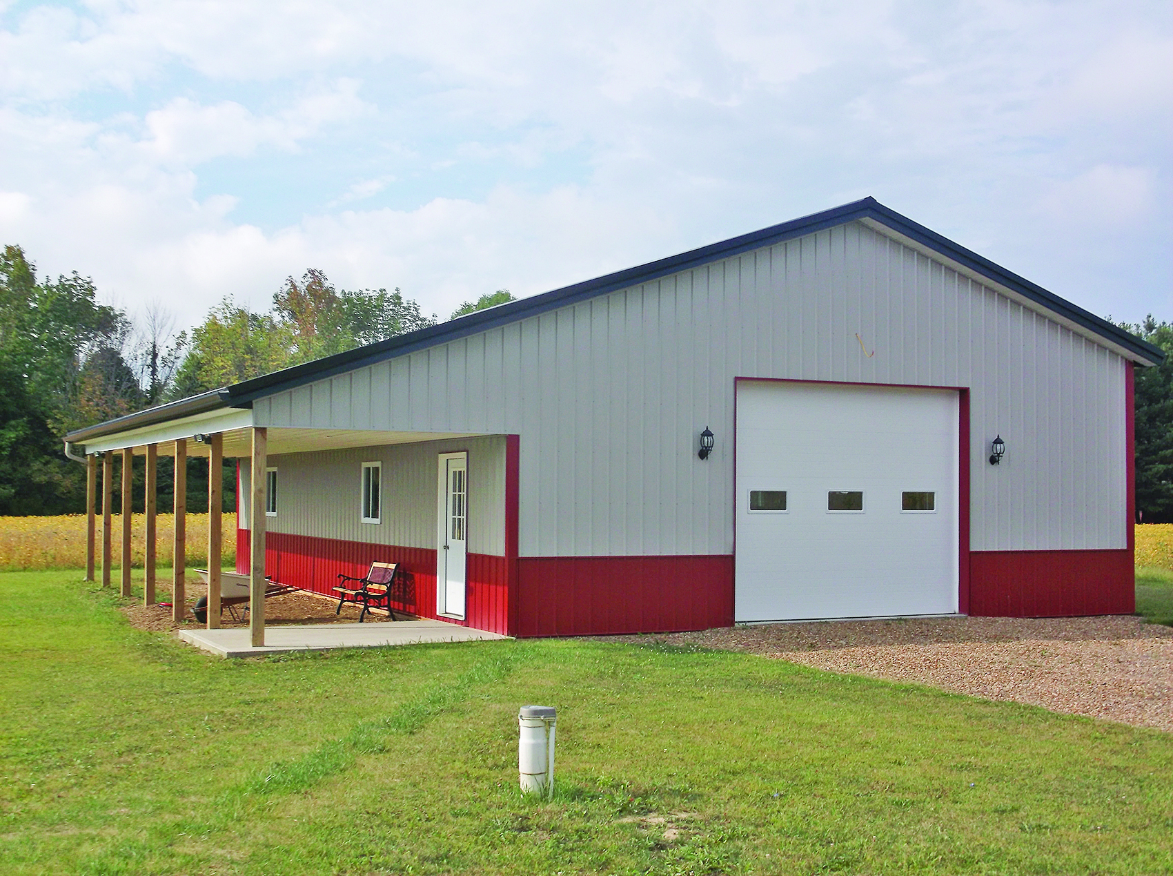Metal Garage Pole Barn With Lean-To