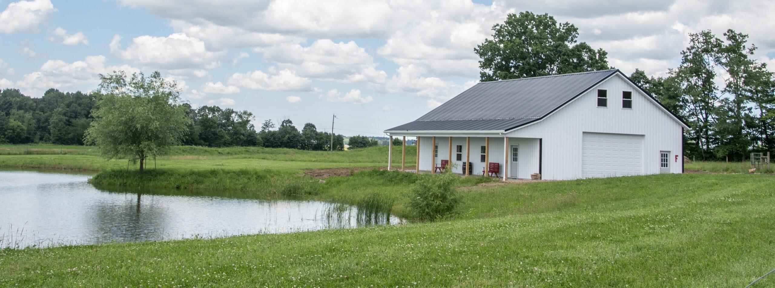 Pole Barn - Small White with Porch