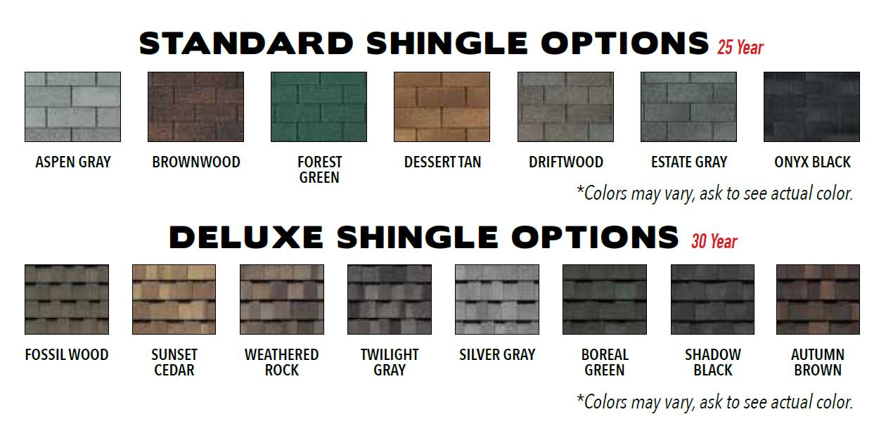 Shingle Options for Custom Storage Sheds