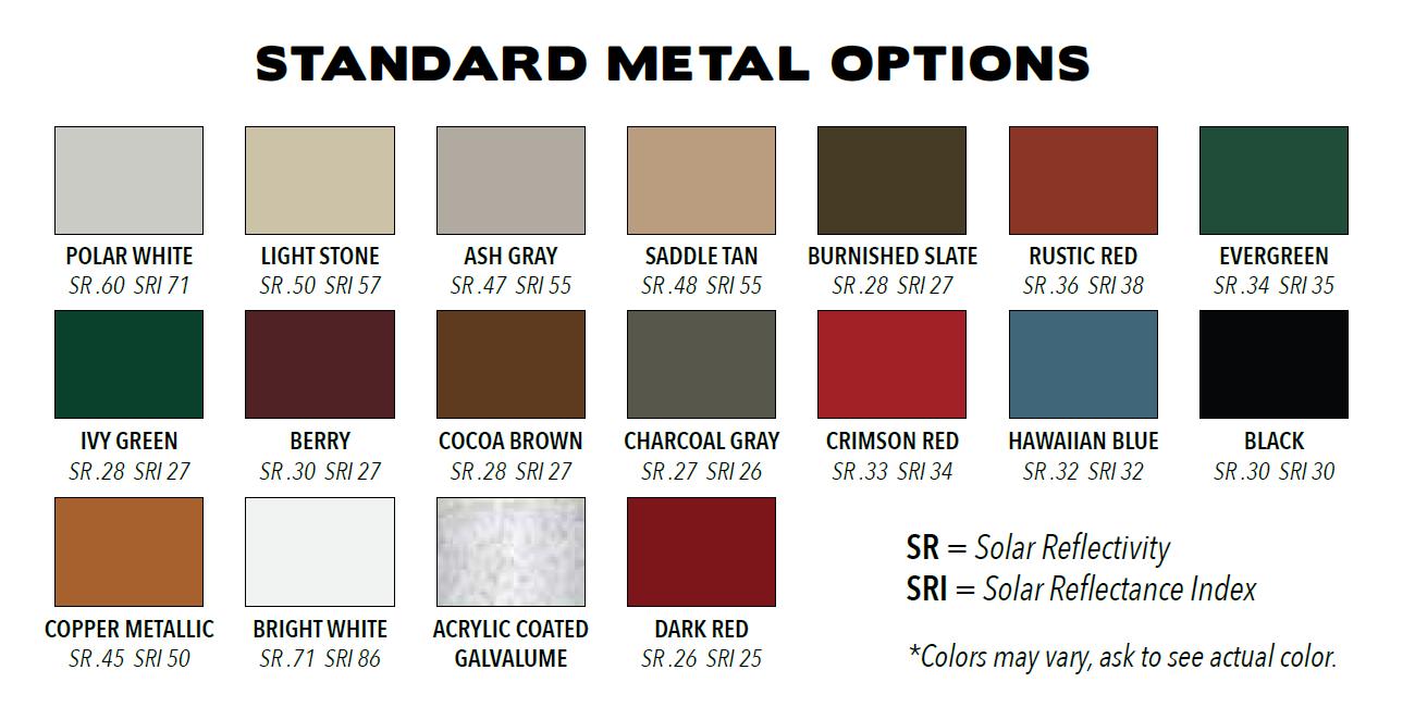 Metal Roof Options Custom Sheds