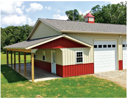 Yoder Barns Pole Barns - Cream and Red with Porch