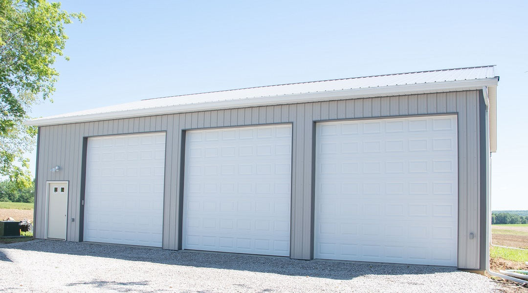 Yoder Barns Pole Building Gray with Charcoal Trim