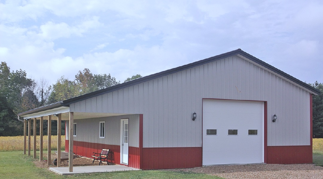 Pole Barn / Pole Garage with Open Lean-To or Porch