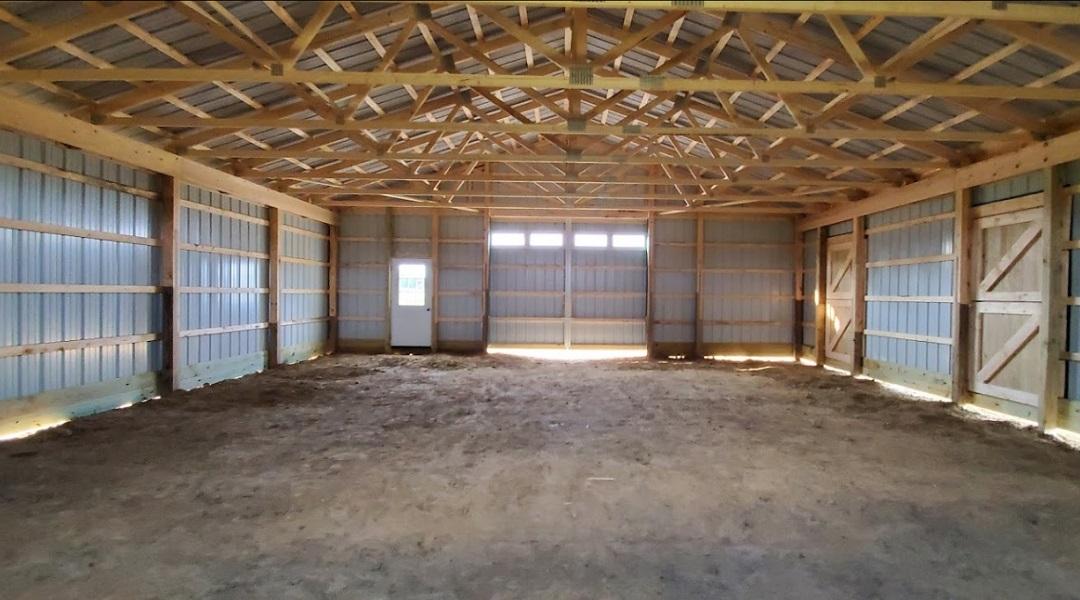 Interior of Open Pole Barn Garage