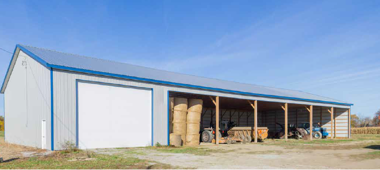 Agricultural Pole Barn for Hay and Equipment Storage