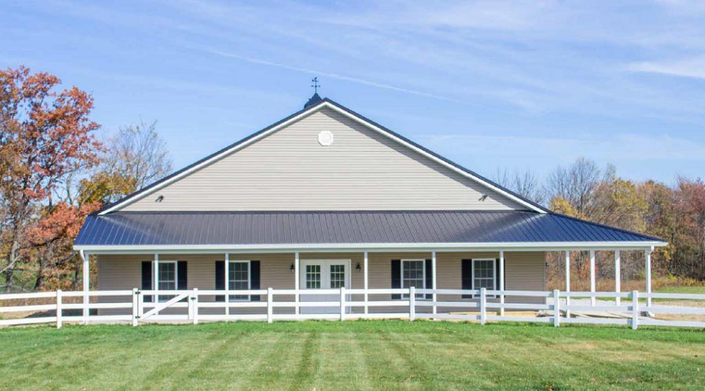 Custom Pole Barn Building Tan Siding, Two Cupolas with Porch