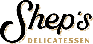 Logo that reads Shep's delicatessen in black and gold