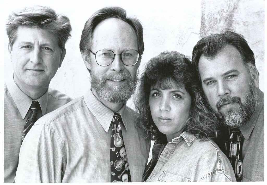 """The shot without instruments was the back cover photo on our self published album in 1997...""""Playing Favorites."""" Jim Stevens and Friends about 1980. (L-R) Lee Kopp, Jim Stevens, Debra Harville, Mark Harville."""