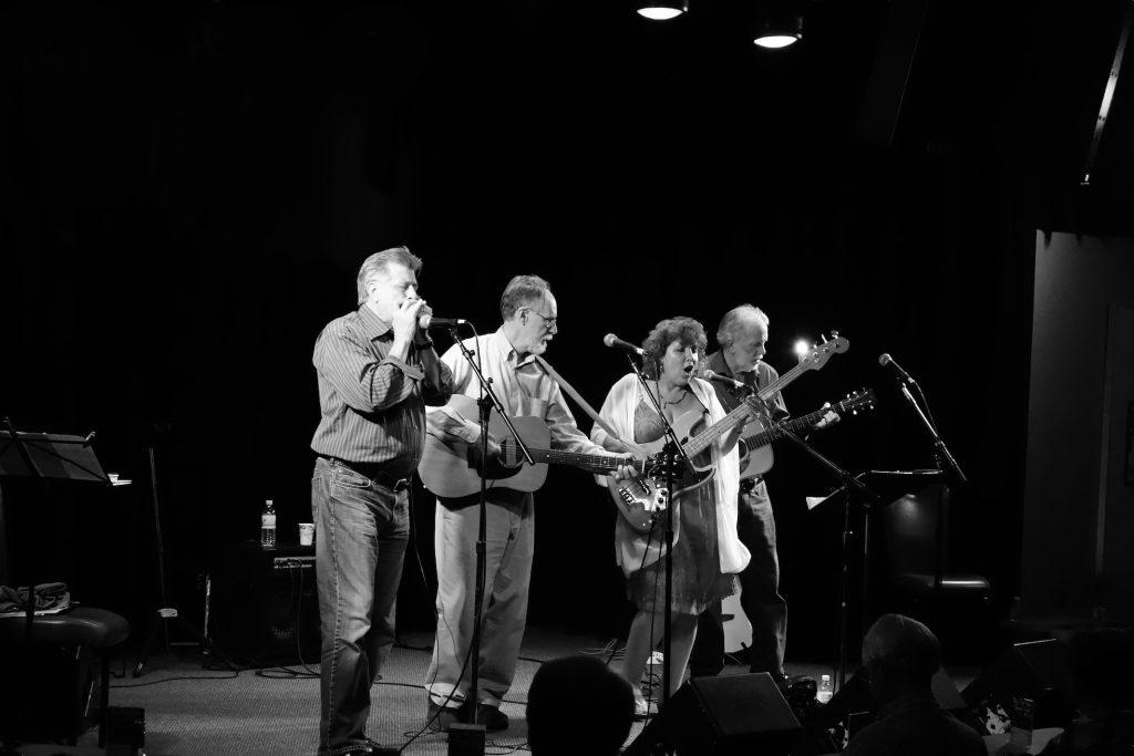 (L-R)) Lee Kopp, Jim Stevens, Debra and Mark Harville (known as Jim Stevens and Friends) playing the Kuumbwa Jazz Center in Santa Cruz.