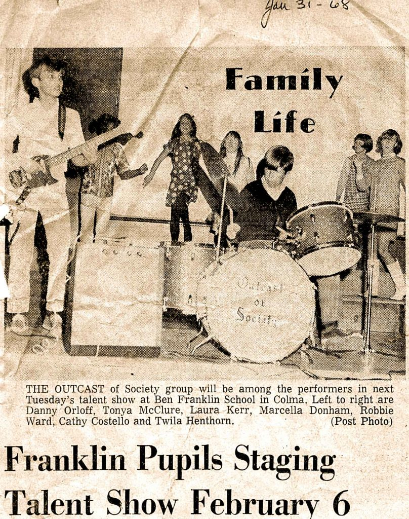 Benjamin Franklin Junior High in Daly City, CA 1968. Just one of many talent shows available to us in those days.