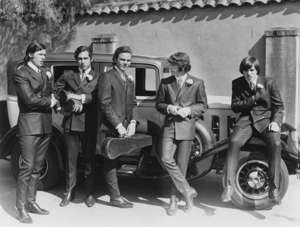 Photo from Album Photo Shoot    at the Carmelite Monastery in Santa Clara.  L_R Don Baskin, Bob Gonzalez, John Duckworth, John Sharkey, Jim Sawyers