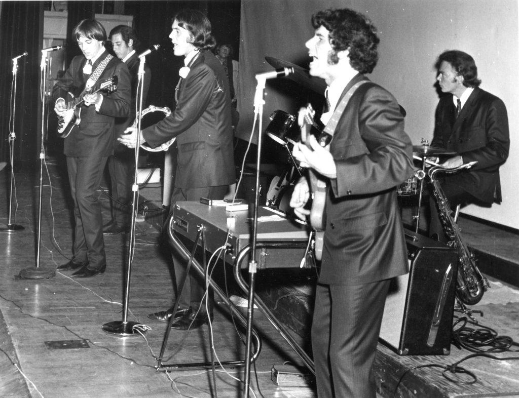 San Jose Civic Auditorium, May 21, 1966. L-R Jim Sawyers, Bob Gonzalez, Don Baskin, John Sharkey, John Duckworth