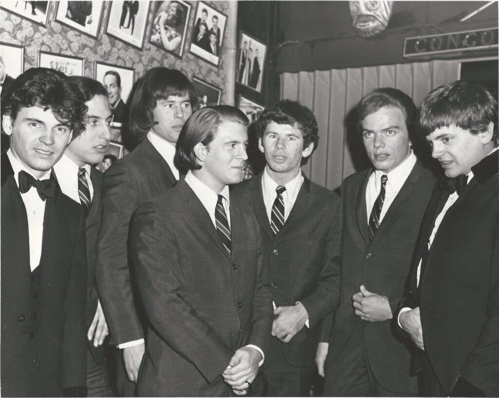 SOS backstage to meet the Everly Brothers at Paul Catalana's Safari Room in east San Jose,1965. L-R Don Everly, Bob Gonzalez, Don Baskin, Larry Ray, John Sharkey, John Duckworth, Phil Everly.